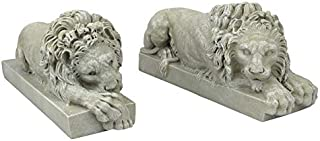 Design Toscano Canova Lions from the Vatican Statues, 12 Inch, Set of Two, Polyresin, Antique Stone