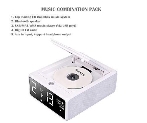G Keni CD Player Boombox, Alarm Clock Radio, Bluetooth Speaker, Qi Wireless Charger, Digital FM Radio, MP3/USB Music Player, Dual Alarm, Snooze & Sleep Timer, Dimmable Mirror LED Display for Home