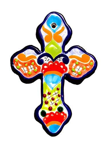 Mexikanische Talavera Wandkreuz 20,3 x 14 cm handbemalte Keramikfliesen – handgefertigt in Mexiko – Cruz Mehrfarbig