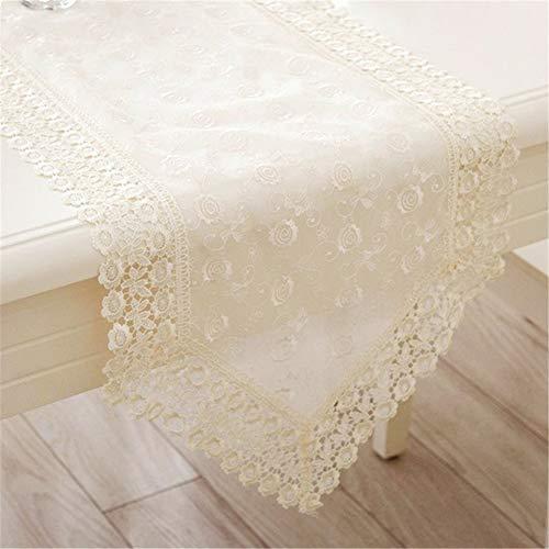 Nvfshreu Moderne minimalistische kant tafelloper pastoral stijl met bloemen borduurwerk top eenvoudige stijl decoratie beige Ca 40X220Cm