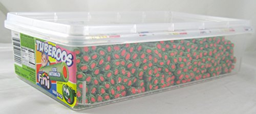 Tuberoos Green Color Red Fondant Filled Sour Licorice Sticks, Watermelon Artificially Flavor. - 200 Pieces Tub