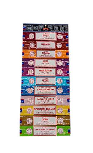 Satya ENCENS Lot de 12x 15Gram Comprend: Nag, Super Hit, Oodh, Positive Vibes, Namaste, Champa, Opium, Reiki, Guérison spirituelle, Karma, Traditionnel ayurvédique et méditation Packs