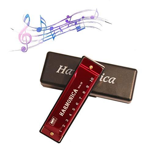 Armonica Bocca Diatonica Alta Qualità Blues Harp Harmonica Armonica Bambini C Maggiore Principiante 10 Buche Armonica Diatonica Principianti Bambini Per Principianti e Bambini ,Con Custodia (Rossa)