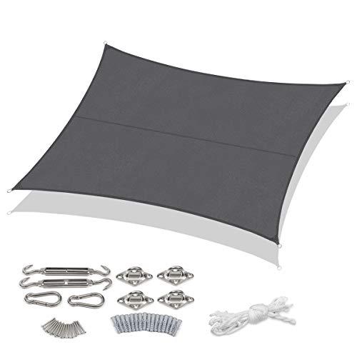 Sekey Sonnensegel Sonnenschutz Rechteckiges Polyester Windschutz Wetterschutz Wasserabweisend Imprägniert 95% UV Schutz, für Outdoor Garten mit Seilen und Befestigungs Kit, Anthrazit 3×4m mit kit