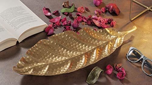 AD TREND-STAR Foglia Vassoio svuotatasche Decorazione in Ferro Oro 50 x 20 cm