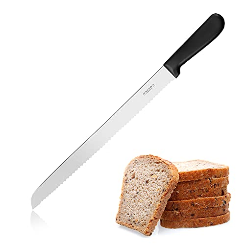 12 Inch Serrated Bread Knife for Homemade Bread, Stainless Steel Wide Wavy Edge Knife, Multi-Purpose Kitchen Knife, Efficient Cake Slicer, Ultra Sharp Baker's Knife for Cutting Crusty Breads, Cake