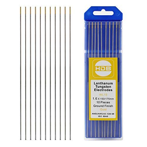10 Stück Wolframelektroden Wolframnadeln WL-15 Wolfram Elektrode Nadel 1,6 x 175mm Gold