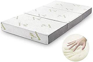 Folding Mattress, Inofia Memory Foam Tri-fold Mattress with Ultra Soft Removable Bamboo Cover Washable, Non-Slip Bottom & Breathable Mesh Sides - Queen 6-Inch