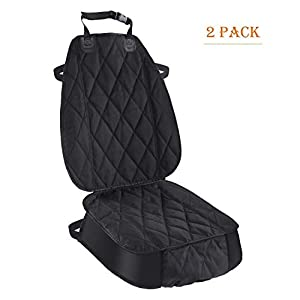 Pet Deluxe Thick Front Car Seat Cover for Car and SUV Waterproof Nonslip Seat Covers for Pet Dogs and Cats Black (2 Pack)