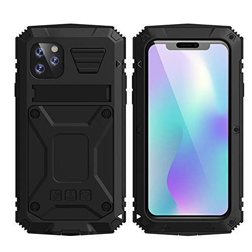 HATA iPhone 11 Metal Military Heavy Duty case, iPhone 11 Rugged Drop Tested Case with Built-in Screen Protector Kickstand Sturdy Full Body Cover (Black, iPhone 11)