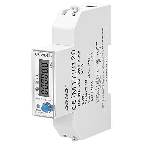 ORNO WE-512 Contatore Energia Elettrica Guida DIN per Sistemi Monofase con Certificato MID e 0,25A -40A. 50/60Hz, 1000 imp/kWh (con RS845) (Basic)