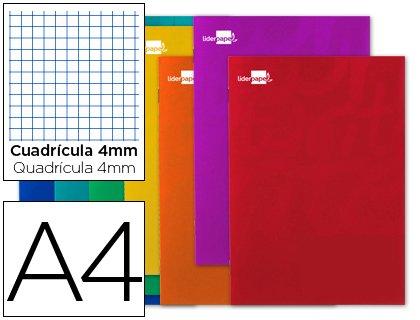 Libreta liderpapel smart a4 tapa blanda 80 hojas 60g/m2 cuadro 5 mm con margen colores surtidos. (10 Unidades)
