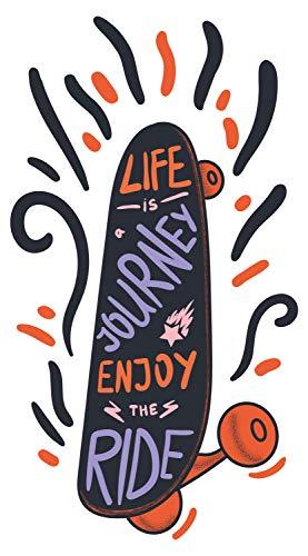 Wandtattoo Jugendzimmer Wandsticker Life is journey enjoy the ride Skateboard S