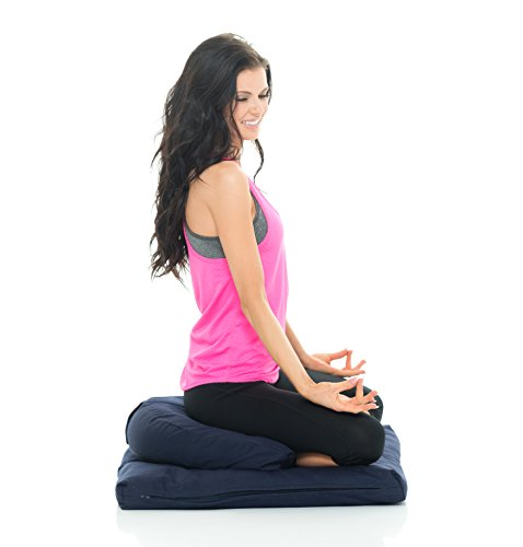 Awaken Meditation Hand/Machine Washable Crescent Zafu Zabuton Yoga Mat & Cushion Set Filled with Buckwheat - 100% Cotton (Blue)