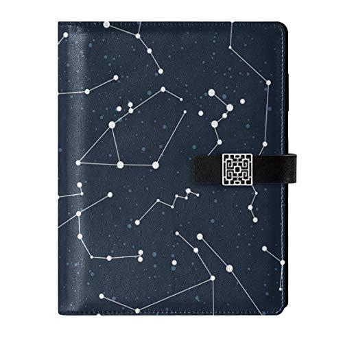 Cuaderno de cuero para diario diario de viaje, constelación estrella, rellenable, A5, cuaderno de tapa dura, regalos para hombres y mujeres