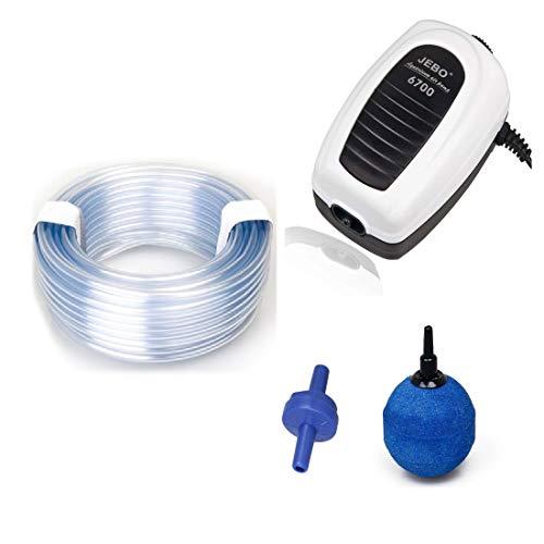 JEBO Belüfter - Set mit 1 Ausströmer, Teich- und Aquariumbelüfter komplett Set. Sauerstoffpumpe mit Luftschlauch und Belüfterkugel und Rückschlagventil