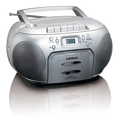 Lenco SCD-420 Silver Tragbares UKW-Radio mit Toplader CD-Spieler und Kassettendeck, LCD Display, Wiederholungsfunktion, Auto-Stopp, Kopfhöreranschluss