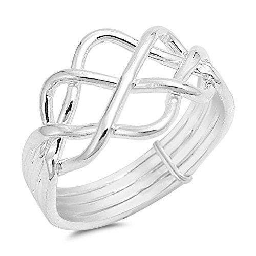 High Polish Bar Knot Puzzle Ring New .925 Sterling Silver Band Size 7