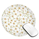 Pressed Yellow Wildflowers Design Pattern Round Mouse Pad Desk Pad Non-Slip Rubber Mice Pads Stitched Edges Cute Round Mouse Pad for Office and Home