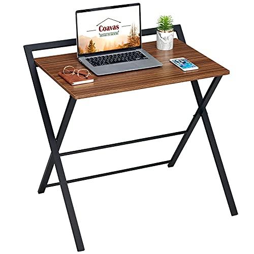 Coavas Scrivania pieghevole, Tavolo piccolo, Scrittoio per Computer, per piccoli spazi, senza assemblaggio, 81.5x52x76cm, Marrone