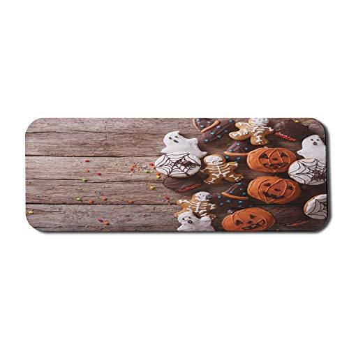 Halloween Computer Mouse Pad, lustige köstliche Ingwerplätzchen auf rustikalem Holztisch Warme Desserts drucken, Rechteck rutschfestes Gummi-Mauspad Groß Mehrfarbig