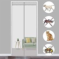 磁気フライ昆虫スクリーンドア、 140x250cm(多サイズ調節可能 磁気メッシュスクリーンドア 新鮮な空気と蚊を保持します 害虫対策 エコ 断熱 保温 暑さ対策, 灰