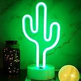 YIVIYAR Neonlicht Kaktus LED Cactus Neon Sign Kaktus Leuchtreklamen Dekor, Batterie oder USB-Betrieb Nachtlichter mit Sockel Nachtlicht Kaktus Lampen Tischleuchten Deko für Wohnzimmer Party(Cactus)