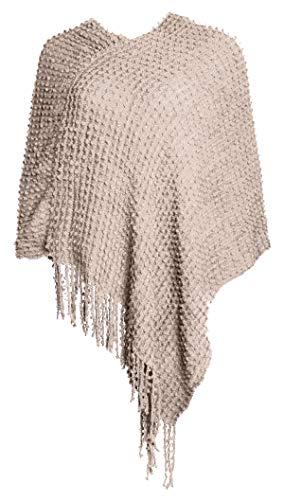 Glamexx24 Damen Strick-Poncho Pulli Winter Mantel Damen Pullover Top Jacken