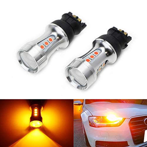iJDMTOY (2) Extremely Bright Amber Yellow Error Free PWY24W LED Bulbs Compatible With Audi A3 A4 A5 Q3 BMW i3 MINI Cooper F55 F56 Mercedes GLK Front Turn Signal Lights