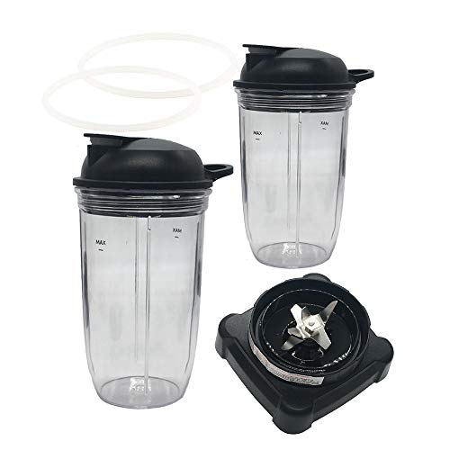 Replacement extractor blade with 18oz 24oz cup and spout lid for Ninja Professional 72oz Countertop Blender Ninja Professional 1000W Blender BL610 30/BL610 BRN 30