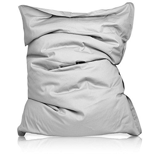 Lumaland Luxury superweicher XXL Sitzsack aus Baumwolle 380l Füllung 140 x 180 cm Indoor Grau