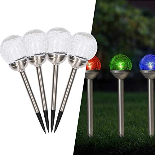 proventa® Solar LED Gartenleuchte, 4-er Set, RGB Farbwechsel, Ø 8 x H 40 cm, Glaskugel mit Erdspiess, Edelstahl, Dämmerungssensor, IP44