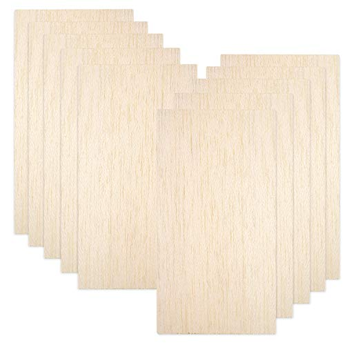 10 Pack Balsa Wood Sheets, Natural Unfinished Wood for House Aircraft Ship Boat DIY Wooden Plate Model,...