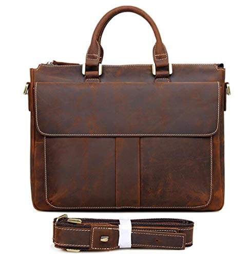 Crazy Horse Full Grain Natural Leather Men's Briefcase 14 Inches Laptop Bag Dress Office Bags For Men Brown Brown