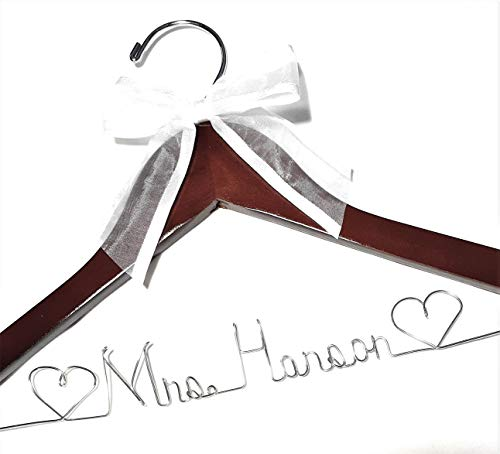 Wedding Dress Hanger Personalized Bride Name Choice of 9 Bow Colors Silver Dark Wood Hanger with Notches in Hanger Bridal Bridesmaid Gift Wedding Shower Gift