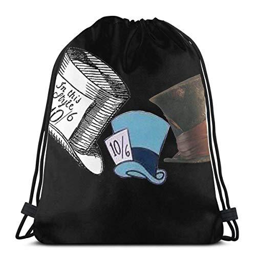 Mad Hatter - Alle Hüte Wasserdichter Faltbarer Sport Sackpack Gym Bag Sack Drawstring Rucksack