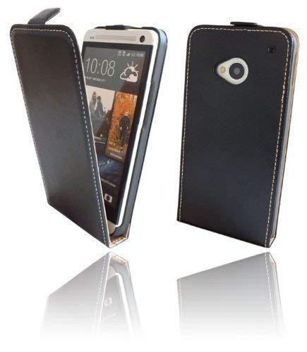 ENERGMiX Handytasche Flip Style kompatibel mit HTC ONE (M7) in Schwarz Klapptasche Hülle