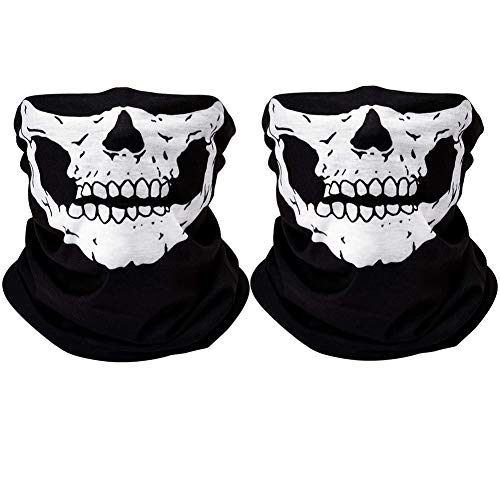 Black Skull Seamless Scarf Bandanas Face Mask 2pcs-white