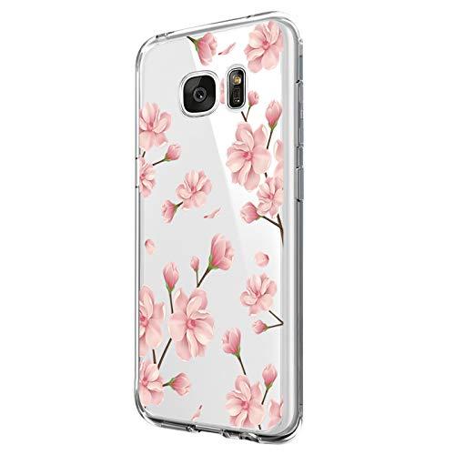 Neivi Kompatibel mit Hülle Samsung Galaxy S7 Hülle,Galaxy S7 Edge Schutzhülle Silikon Silikonhülle Transparent TPU Bumper Schutz Handytasche Handyhülle Schale Hülle Cover (Blume2, Galaxy S7)