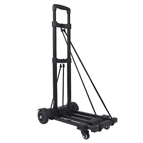 Luggage Cart, Hand Truck Portable Foldable Hand Trolley 4-Wheels Flat Luggage Cart with Telescopic Stainless Steel Three-fold Handle - 2 Spinner Wheels Design