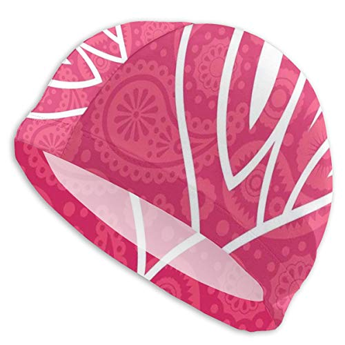 GUUi Swimming Cap Elastic Swimming Hat Diving Caps,Big Heart with Ethnic Background Retro Romance Will Change The World Illustration,for Men Women Youths