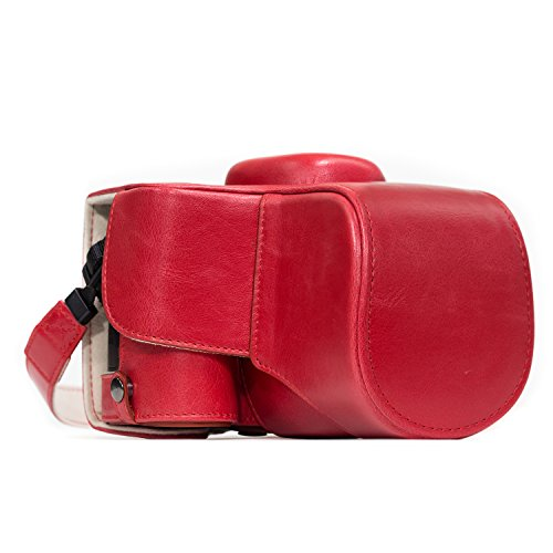 MegaGear Nikon D3400 (18-55) Ever Ready Leather Camera Case and Strap, with Battery Access - Red - MG1137