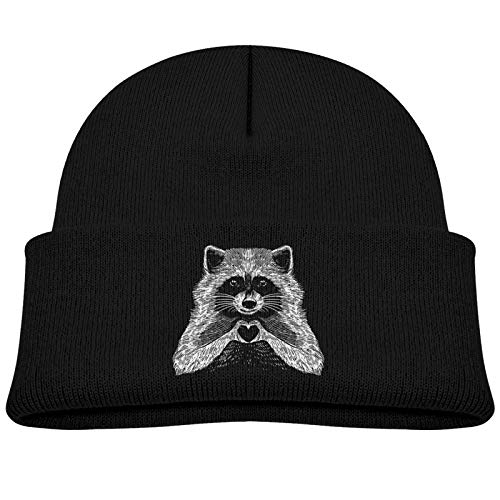Love Raccoon Baby Beanie Winter Hats Unisex Knit Warm Skull Cap for Toddler Infant Black