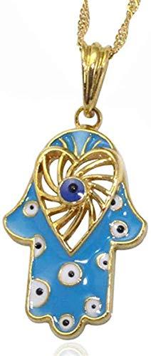 LLJHXZC Collar Mano De Fátima Turco Evil Eye Crystal Colgante Y Collar Islam Joyería Musulmana con La Cadena 60 Cm Collar Collar