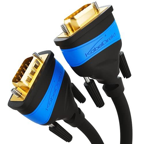 KabelDirekt – 5 m – VGA-Kabel (15-polig, Full HD/1080p, 3D-fähig, VGA-Stecker auf VGA-Stecker, verbindet PCs mit Monitoren/Röhrenbildschirmen/Fernsehern, vergoldete Kontakte, schwarz)