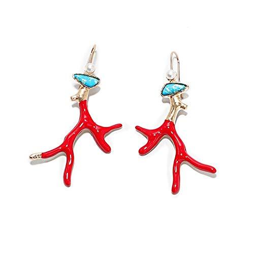 Boho Green Turquoises Coral Stone Perl Pendientes Pendientes para Las Mujeres Originales Pendientes De Metal Hecho