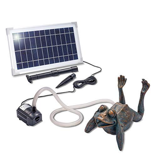Solarbetriebener Wasserspeier Frosch - inkl. Solar Teichpumpe 8 Watt 380 l/h - Maße ca. 355 x 205 x 240 mm - Wasserspiel für Gartenteich Teichfigur Gartenbrunnen, esotec 101650