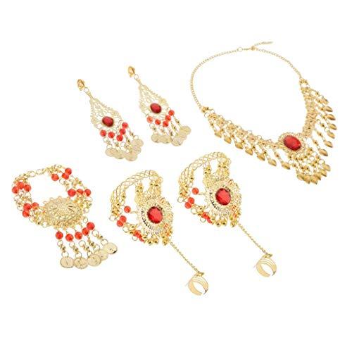 lahomia 1 Paquete de Joyas de Danza Del Vientre para Mujer - Collar Pendientes - multicolor, Clip de oreja