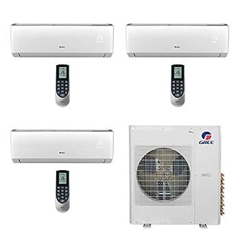 GREE 36,000 BTU Multi21+ Tri-Zone Wall Mount Mini Split A/C Heat Pump 208/230V SEER 21  9-9-18  - Built-in Wi-Fi