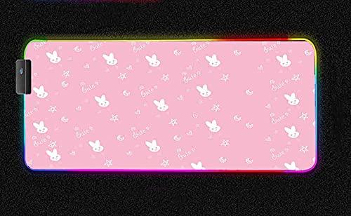 Alfombrillas de ratón Lindo pequeño Conejo Blanco RGB Alfombrilla de ratón para Juegos Arco Iris LED Brillante Teclado retroiluminado Alfombrilla de ratón Rosa de Goma Grande 800x300 MM